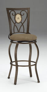 Brookside Oval Fossil Back Swivel Bar Stool (Brown Powder Coat Finish) - [4815-830]