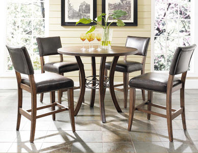 Cameron  Counter Height Round Dining Set with Parson Stools (Chestnut Brown Finish) - [4671CTBWS4]