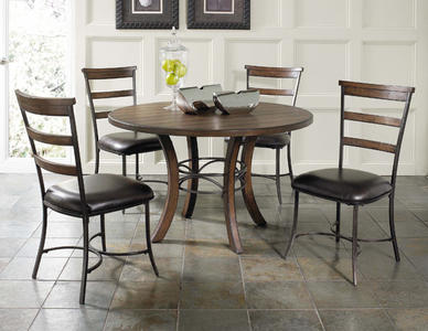 Cameron Round Wood Base Dining Set with Ladder Back Chairs (Chestnut Brown Finish) - [4671DTBWC5]