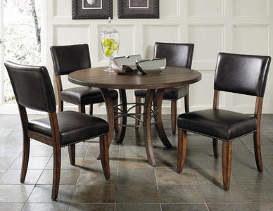 Cameron Round Wood Base Dining Set with Parson Chairs (Chestnut Brown Finish) - [4671DTBWC4]