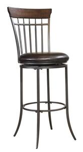 Cameron Swivel Counter Stool with Vertical Spindle Back (Chestnut Brown Finish) - [4671-827]