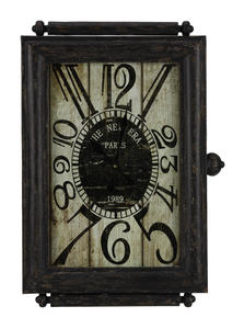 Charest Clock (Aged Black with Brown & Red) - 21 x 30 - [40435]