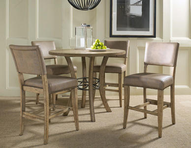 Charleston Counter Height Round Wood Dining Set with Parson Stools (Desert Tan Finish) - [4670CTBWS4]