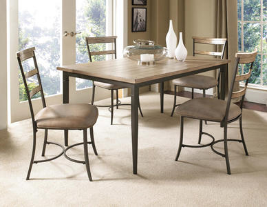 Charleston Rectangle Dining Set with Ladder Back Chairs (Desert Tan Finish) - [4670DTBRC5]