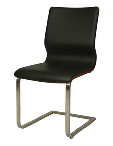 Charlize Side Chair (Stainless Steel, Walnut Veneer & Black Finish) - [CH-110-SS-WA-979]