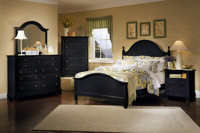 Cottage Collection Panel Bedroom Set (Black Finish)