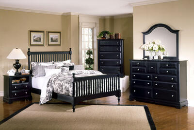 Cottage Collection Slat Poster Bedroom Set (Black Finish)
