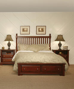 Cottage Collection Slat Poster Storage Bed (Cherry Finish)