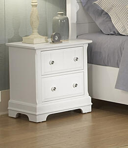 Cottage Collection Two Drawer Nightstand (Snow White Finish) - [BB24-226]