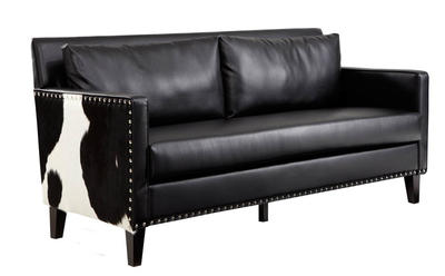 Dallas Loveseat (Black Leather & Real Cowhide) - [LC21452BL]