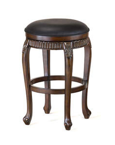 Fleur De Lis Swivel Backless Barstool (Distressed Cherry with Copper Highlights Finish) - [62994]