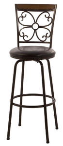 Garrison Swivel Counter & Bar Stool with Nested Legs (Dark Brown with Dark Brown Upholstery) - [5431-830]