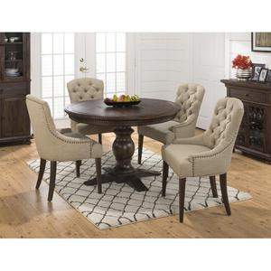 Geneva Hills Round to Oval 5 Piece Dining Set with Upholstered Side Chairs - [678-60B+678-60T+4x679-212KD]