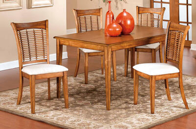 Glenmary Dining Set - 5 Pieces (Oak Finish) - [4766DTBCRCT]