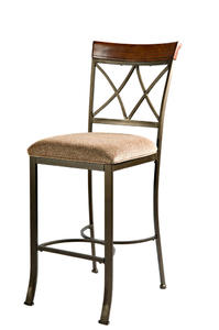 Hamilton Bar Stool (Matte Pewter & Bronze) - [697-432]