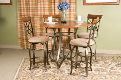 Hamilton Five Piece Counter Height Dining Set (Matte Pewter & Bronze) - [697-441M1]