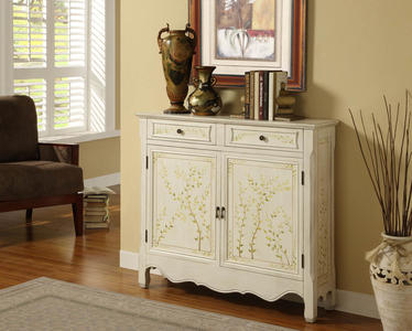 Hand-Painted Two Door Console (White) - [246-332]