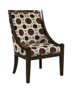 High Back Accent Chair (Mulberry & Grey) - [502-822]