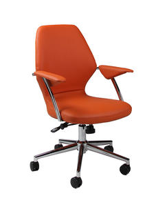Ibanez Office Chair (Chrome, Aluminum & Orange Finish) - [IB-164-CH-982]