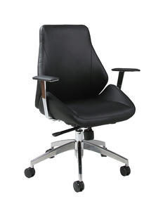 Isobella Office Chair (Chrome, Aluminum & Black Finish) - [IS-164-CH-AL-979]
