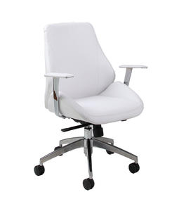 Isobella Office Chair (Chrome, Aluminum & Ivory Finish) - [IS-164-CH-AL-978]