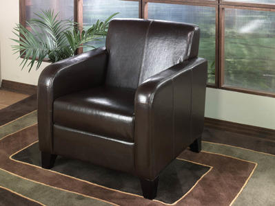 Lawrenceville Club Chair (Brown Leather) - [LCMS0011DB]
