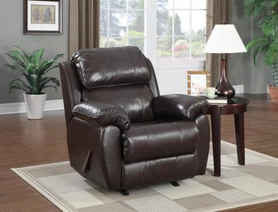 Leather Rocker Recliner Chocolate Leather & Vinyl (Brown & Top Grain Leather Match) - [DS-1210-007-762]
