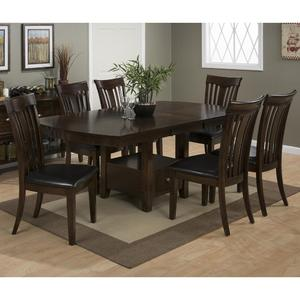Mirandela Birch Counter Height 7 Piece Dining Set with Contoured Slat Back Chairs - [836-78B+836-78T+6x836-947KD]