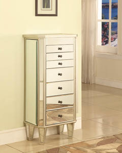 Mirrored Jewelry Armoire with Silver Wood (Mirrored & Silver) - [233-314]