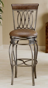 Montello Swivel Counter Stool (Old Steel & Brown Finish) - [41544]