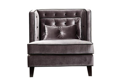 Moulin Chair (Velvet Gray With Black Piping) - [LC21571GR]