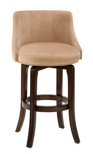 Napa Valley Swivel Counter Stool Textured Khaki Fabric (Dark Brown Cherry Finish) - [4294-828]