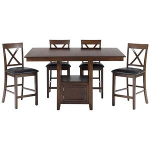 Olsen Oak Casual Counter Height Rectangle 5 Piece Dining Set - [439-60B+439-60T+4x439-BS103KD]