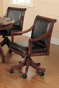 Palm Springs Caster Game Chair (Medium Brown Cherry Finish)
