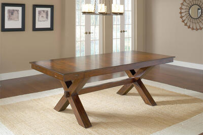 Park Avenue Trestle Dining Table (Dark Cherry Finish) - [4692DTB]