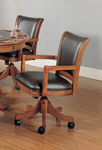 Park View Caster Game Chair (Medium Brown Oak Finish)