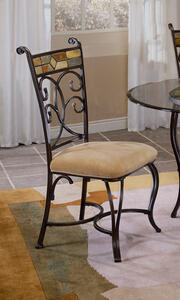 Pompei Dining Chair - Set of 2 (Black Gold & Slate Mosaic Finish) - [4442-802]