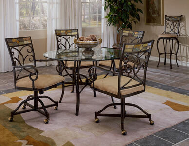 Pompei Dining Set with Caster Chairs (Black Gold & Slate Mosaic Finish) - [4442DTBCWC]