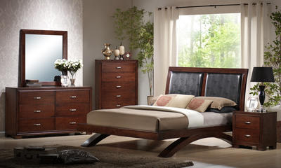 Raven Bedroom Set (Faux Leather & Dark Cherry Finish) - [RV222QB]
