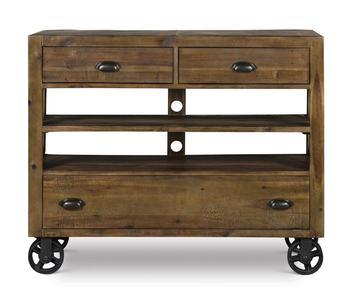River Ridge Media Chest with Casters (Distressed Natural) - [B2375-36]