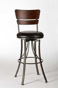 Santa Monica Swivel Counter Stool (Pewter & distressed Cherry Finish) - [5097-826]