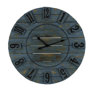Schell Clock (Ocean Blue with Natural Wood Distressing) - 34