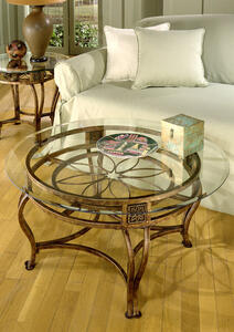 Scottsdale Cocktail Table in Brown Rust and Glass - [40386OTC]