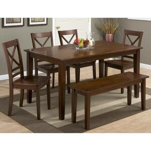 Simplicity Rectangle 7 Piece Dining Set with X Back Side Chairs & Bench - [452-60+6x452-806KD]