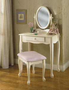 Vanity, Mirror & Bench (Off-White) - [929-290]