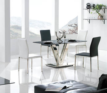 Vengo Dining Table (Black & Stainless) - [LCVEDISTGL]