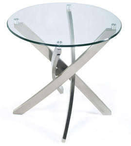 Zila Round End Table (Brushed Nickel)